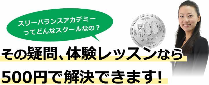 その疑問、体験レッスンなら500円で解決できます!